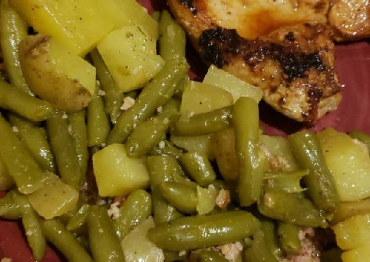 1 pan potatoes and greenbeans with pan fried bone-in pork chops