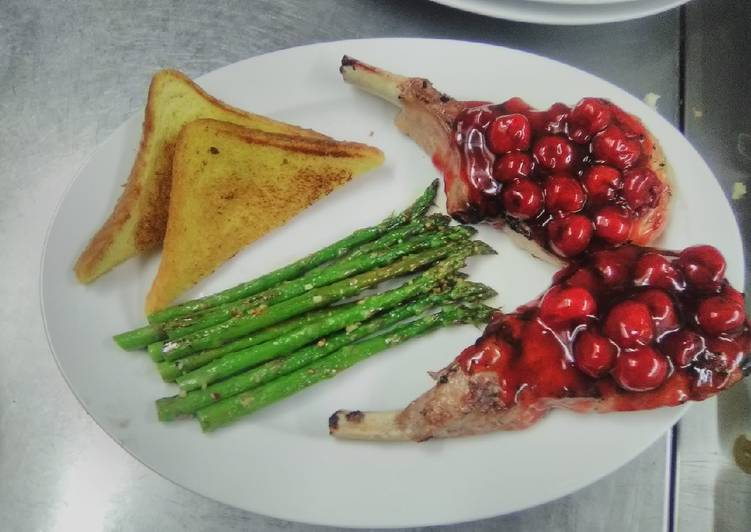 Cherries jubilee pork chops