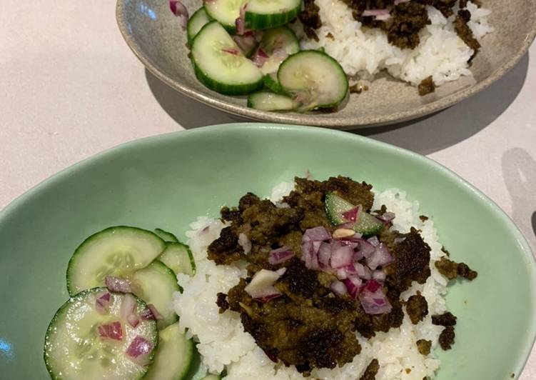 Thai inspired ground beef with cucumber salad