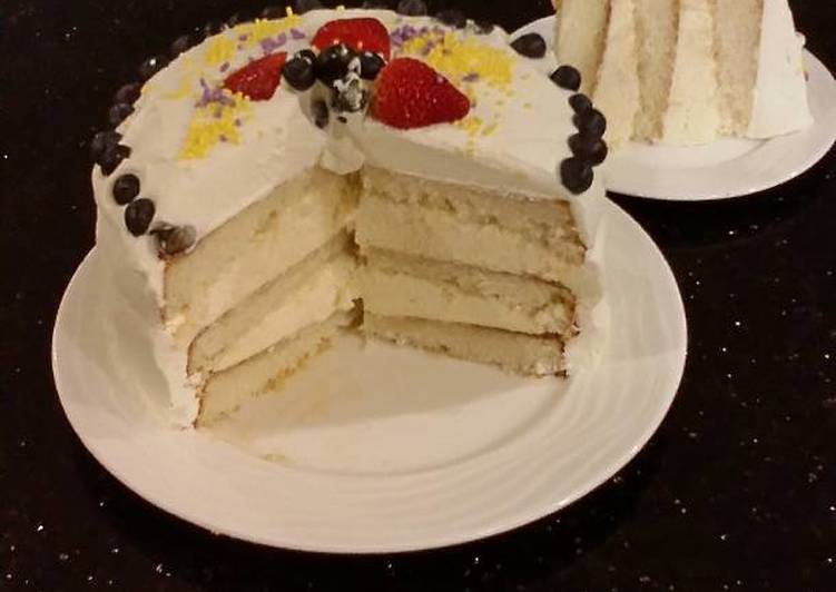 Vanilla Layer Cake with Lemon Cream Filling and Lemon Whipped Cream Frosting