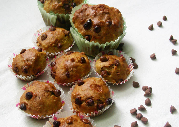 Banana Chocolate Chip Muffins (eggless and butter less)