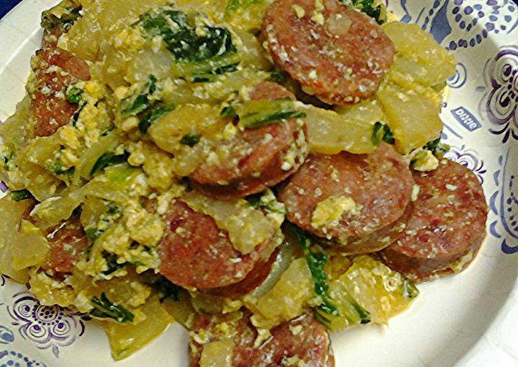 , Recipe: Delicious Smoked sausage with bok choy( Chinese cabbage)