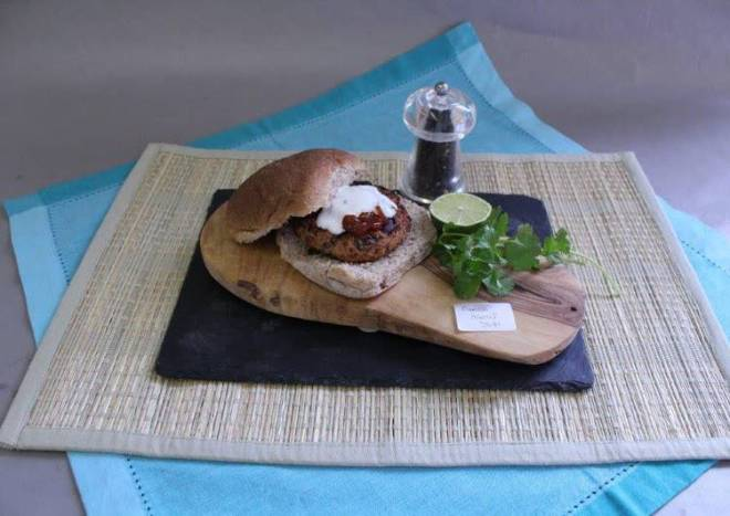 Mexican Bean Burgers with a Lime Yoghurt