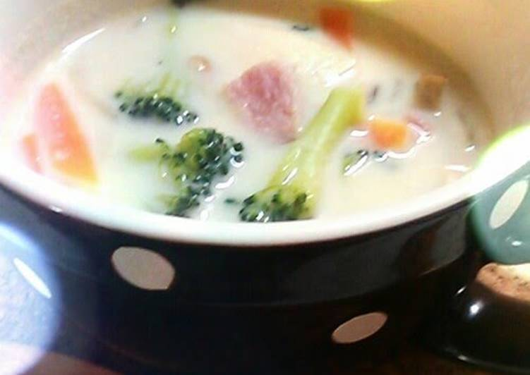 Vegetable Soup made with Soy Milk and Cheese