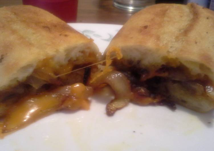 Caramelized onion and medium cheddar sandwich