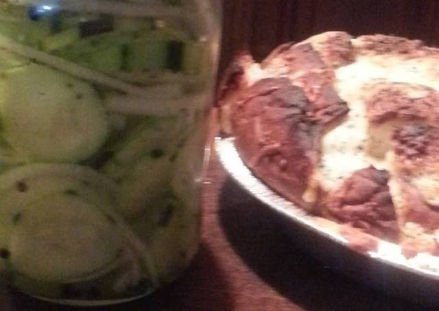 2fer Italian pickles & onions and muh monkey bread