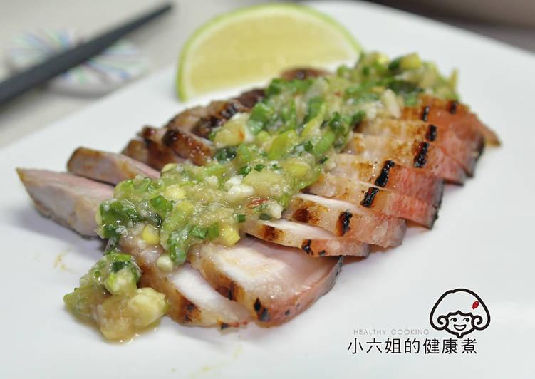 鹽麴豬肉佐蔥油醬 Rémy低溫烹調食譜 by 金箔的健康煮 - Cookpad