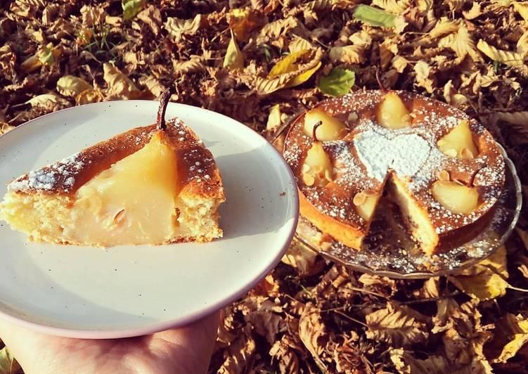 Gâteau poire, vanille & amande❤