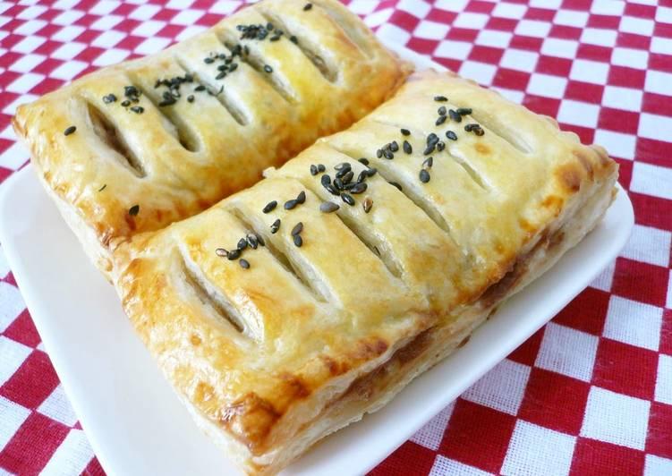 Easy Sweet Bean Paste & Chestnut Pie Using Frozen Puff Pastry