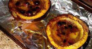 Sweet & Saucy Cranberry-Mango Baked Acorn Squash