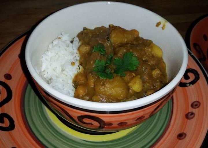 Potato Chick-Pea Curry W/Garlic Roasted Cauliflower - Serve W/Basmati Rice & Cha