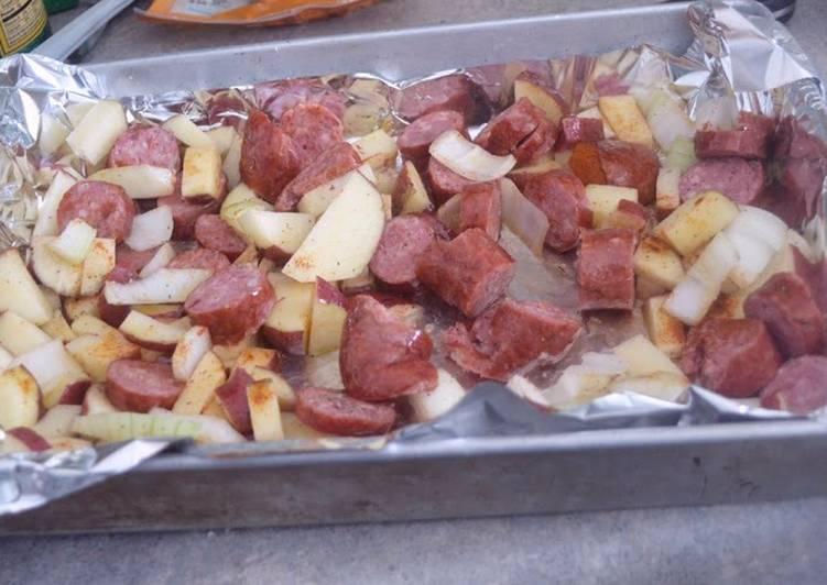 Oven Roasted Smoked Sausage and Potatoes