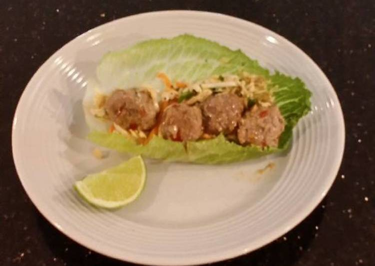 Asian Spicy/Sweet Meatball lettece Wraps