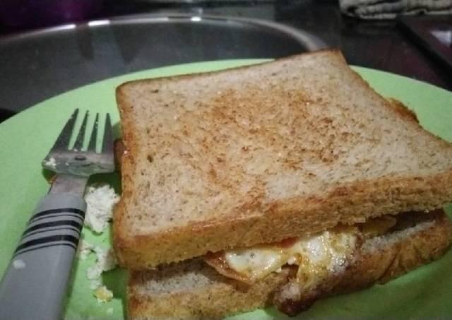 Sandwich bakar tahu rendah lemak tanpa sayur