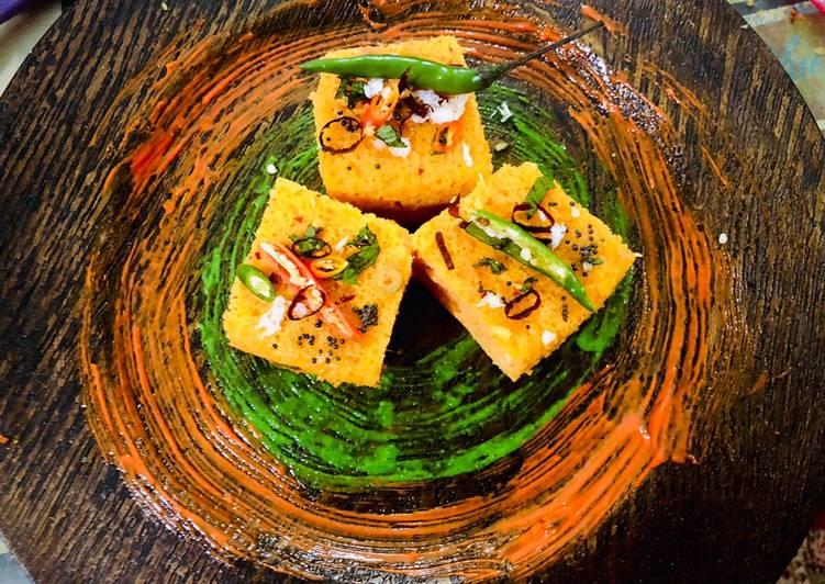 Veggie stuffed Moong dal and Oats Dhokla
