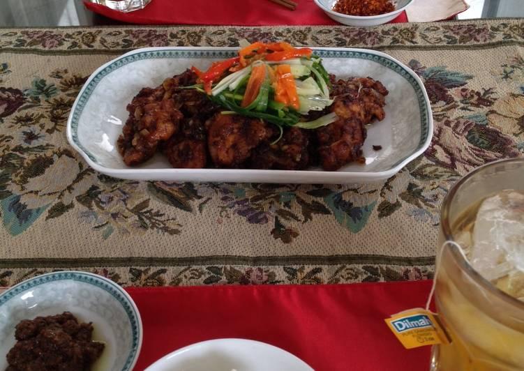 Black Bean Sauce (Jjajang) on Chicken