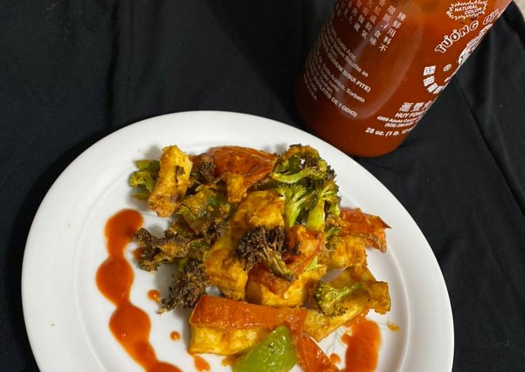 Airfried Asian style Veg Tofu Fry