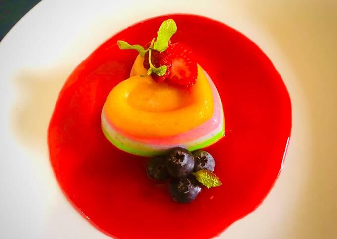 Multicolour fruit Pannacotta