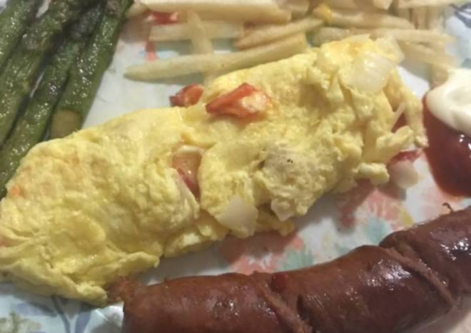 Mushroom omelet,asparagus and sausage