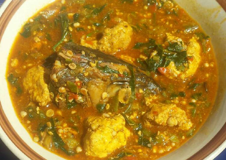 Lumps of egusi in okra and ogbono soup