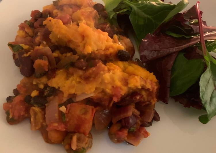 Sweet potato and black bean shepherds pie