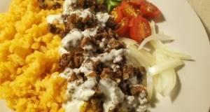 Shawarma Rice W/ Garlic Yogurt Sauce