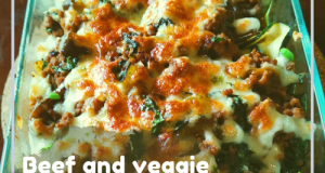 Ground beef veggie casserole with cheese topping