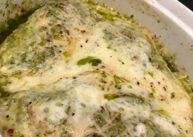 Basil Pesto Chicken With Mozzarella & Parmesan Cheess