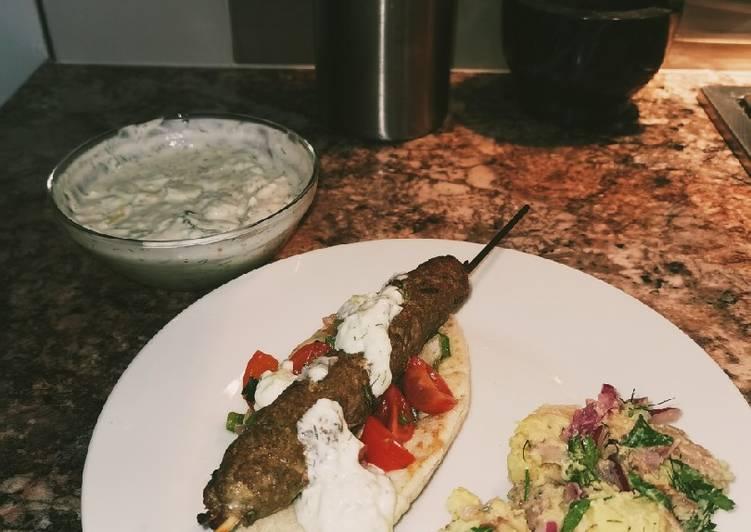 Lamb Kebabs with home made Tzatziki sauce🥙