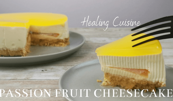 No-Bake Grapefruit Passion Fruit Cheesecake