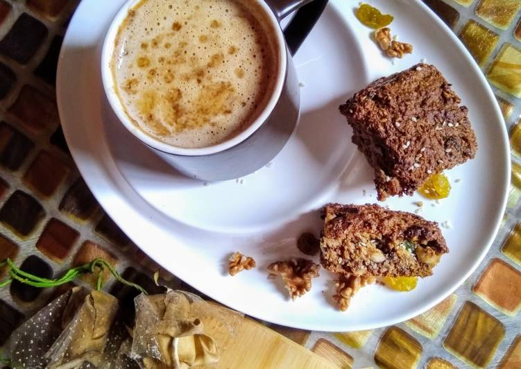 Oat meal cake with frothy coffee..