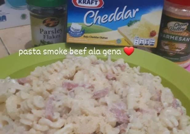 Pasta carbonara smoke beef