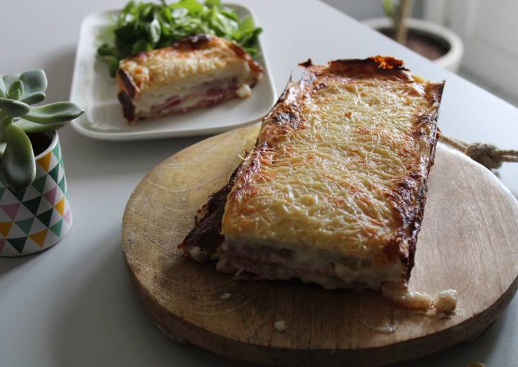 Croque-cake au jambon et fromage