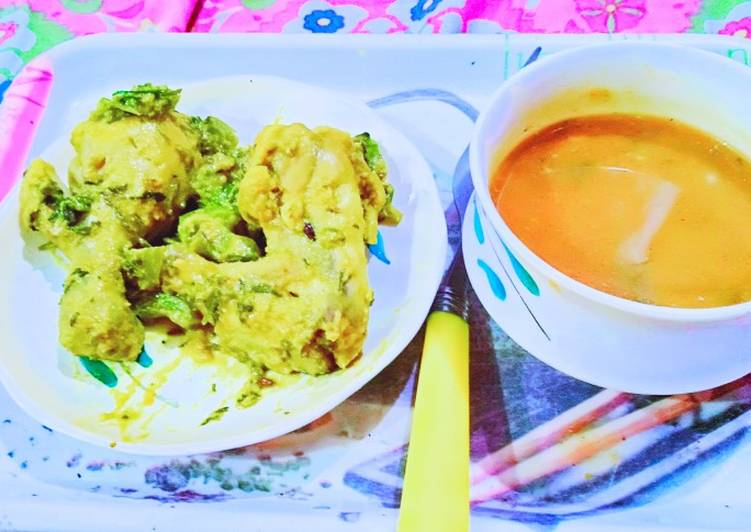 Homemade Tomato soup & Grilled chicken with saute green capsicum