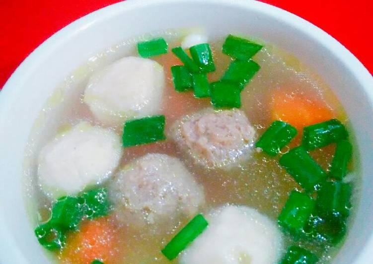 Sayur sop(bakso ikan+bakso sapi)