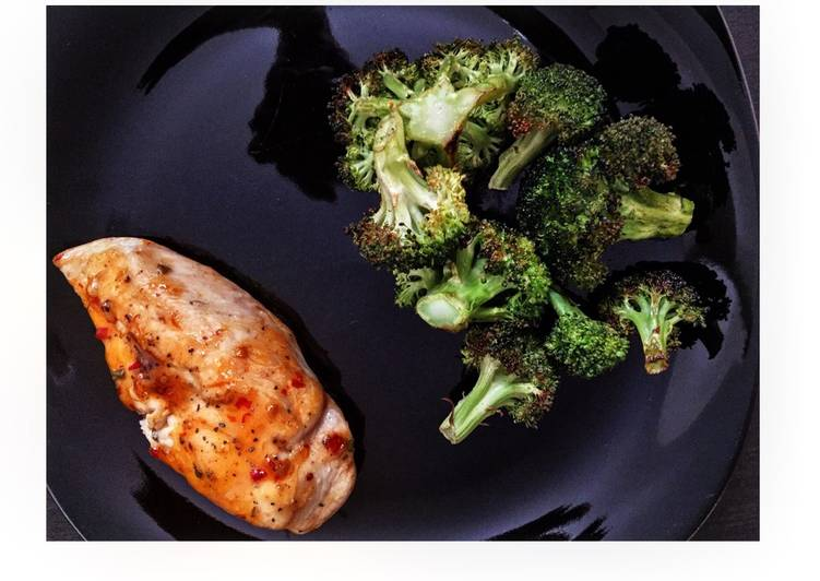 Simple Thai Chicken Breast With Roasted Broccoli Florets