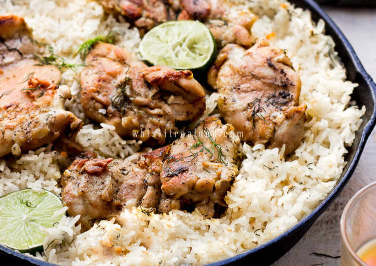 One Pan Garlic Dill And Lime Butter Chicken With Rice