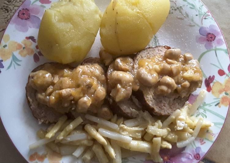 Pain de viande à la sauce champignons et pointe d'asperge
