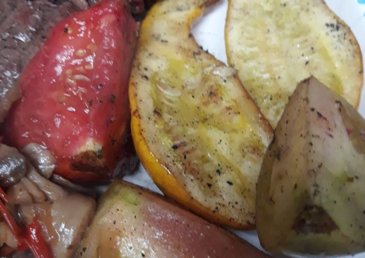Grilled Tomatoes and Yellow Crook-necked Squash