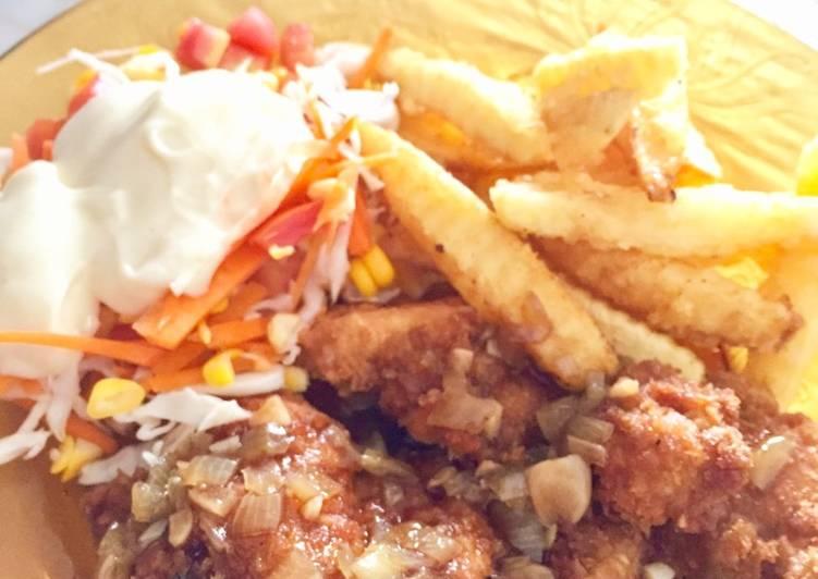 Chicken Katsu X salad Sayuran X french Fries X Saus Teriyaki
