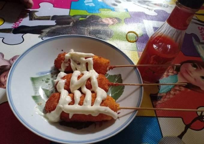 Resep Mozarella corn dog Bikin Laper