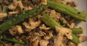 Quinoa With Shredded Chicken And Asparagus