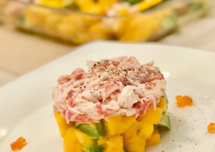Mango avocado salad with Japanese crab stick