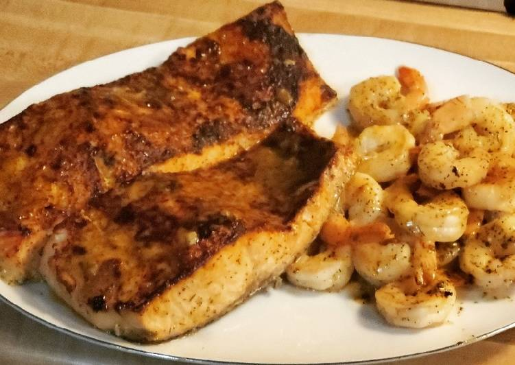 Baked Salmon and Shrimp