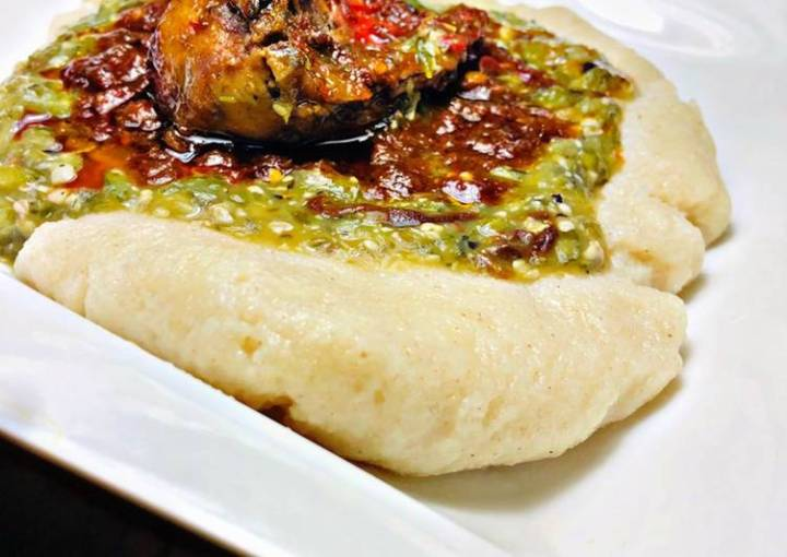 Semovita (swallow)with okra soup and stew