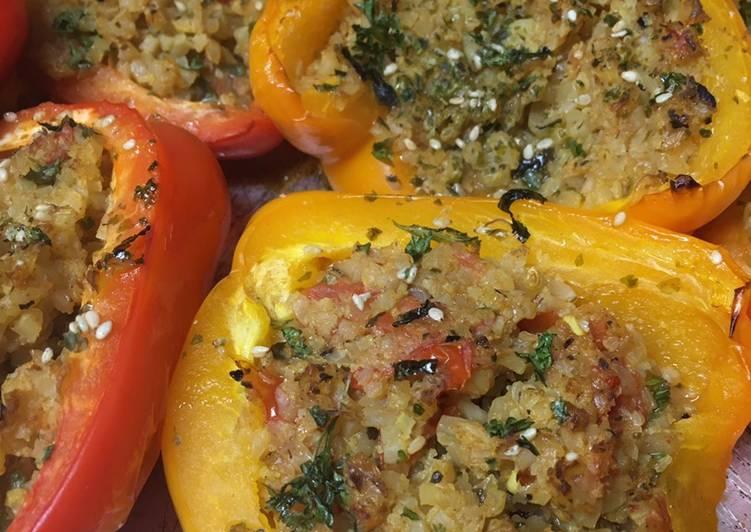 Keto Friendly Cauliflower Rice stuffed Peppers