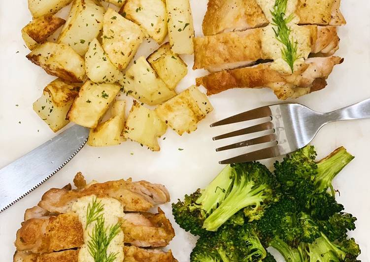 Creamy Dill Chicken with Roasted Potatoes and Broccoli