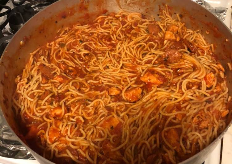 Cajun Chicken and Sausage Spaghetti