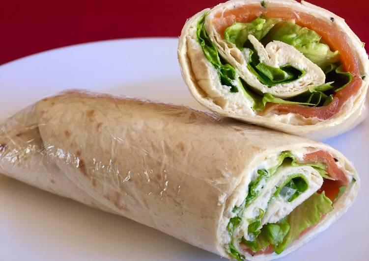 Wrap truite, fromage frais et salade