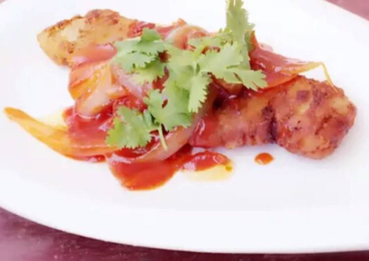 Fried Fish With Onion In Heinz Tomato And Chili Sauce